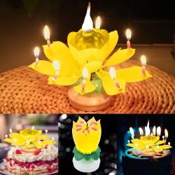 Lotus-vormige roterende verjaardagskaars met 8 kleine kaarsen & Happy Birthday lied