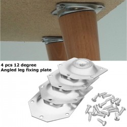 Angled leg fixing plate - mounting bracket for furniture legs - set 4 pieces