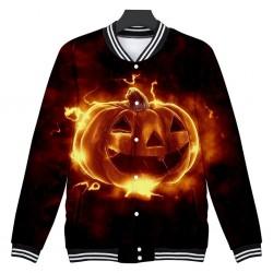 Long sleeve short jacket with Halloween pumpkin - windbreaker