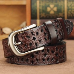 genuine leather belts for women - second layer cowskin woman belt - vintage pin buckle strap jeans