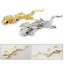 3D gold - crystal gecko - metal car sticker