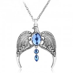 Eagle with blue crystals - vintage necklace