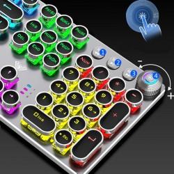Steampunk Gaming Mechanical Keyboard Metal Panel Round Retro Keycap Backlit Wired Computer Periphera