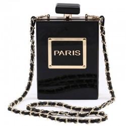 new transparent acrylic elegant perfume bottle bag - vertical style square bag - party gown dinner bag female