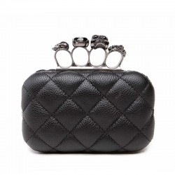 Skull ring woman evening bag vintage plaid woman clutch bag Ladies messenger bags Mini black Luxury