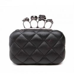 Skull ring woman evening bag vintage plaid woman clutch bag Ladies messenger bags Mini black Luxury