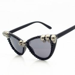 SWOKENCE Skull Frame Cat Eye Sunglasses Men Women Cool Black Rhinestone Sun Shades Halloween Party B