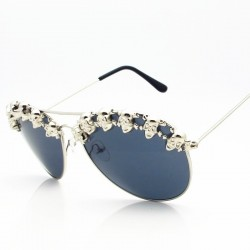 Skull pilot sunglasses - steampunk sun blinkers - hip hop and party