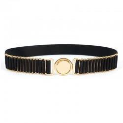 belts for women fashion - beauty round metal buckle belt - vintage lady elastic designer waistband strap