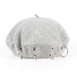 17th-century beret cap with silver rings