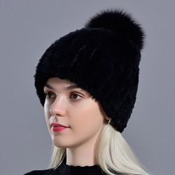 Knitted rabbit fur hat with pompom