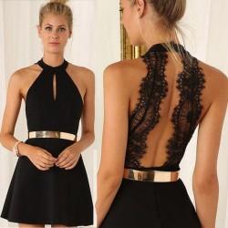 Elegant mini dress with a lace back