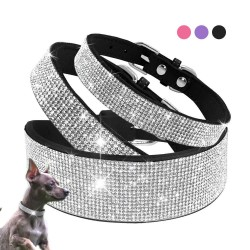 Bling Rhinestone Dog Cat Collars Leather Pet Puppy Kitten Collar Walk Leash Lead For Small Medium Do