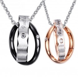 Vintage double hoops - necklace for couples - 2 pieces