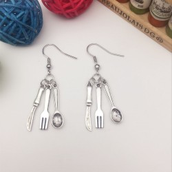 quirky earring - knife fork & spoon cutlery earring