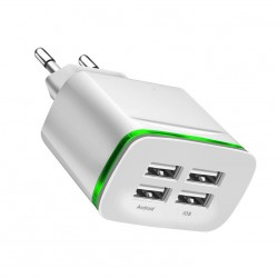 Universal 4 port USB charger adapter 4A travel charge LED lamp plug multi port HUB charger For iPhon