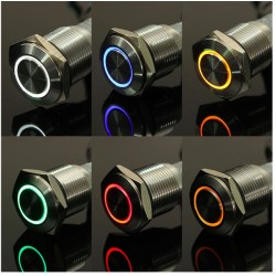 12V Led Ring Stainless Steel Car Switch 16mm
