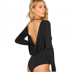 SHEIN Black Backless Solid Skinny Bodysuit Round Neck Open Back Long Sleeve Draped Plain Women Rompe