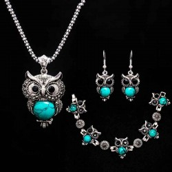 Stone Necklace set Owl braceletearrings Necklace Jewelry for Women Pendant Long Chain Necklace-in