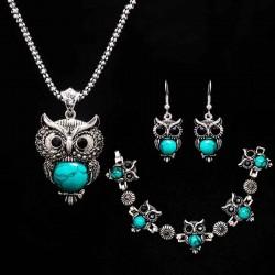 Stone Necklace set Owl braceletearrings Necklace Jewelry for Women Pendant Long Chain Necklace-in