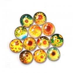 kitchen fridge sticker - round glass sunflower pattern fridge magnet sticker