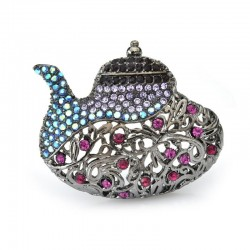 Wulibaby Vintage Teapot Brooches Women Rhinestone Party Banquet Gun Black Gold Color Brooch Pins G