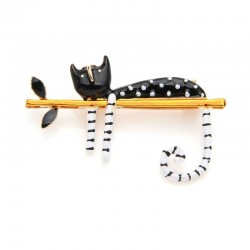 Wulibaby Lazy Cat Sitting On The Tree Enamel Brooches For Women And Men Bouquet Pin 2019 New Fashio