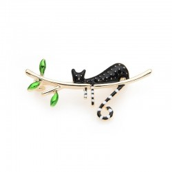 Wulibaby Black Cat Sleeping On The Tree Enamel Brooches For Women And Men New Years Gifts