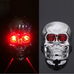 Skull Head Shaped Cycling Bike Bicycle 2 Laser Beam and 5 LED Rear Tail Light Lamp Safety Bicycle Re