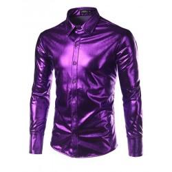 Purple Coated Metallic Night Club Wear Shirt Men Long Sleeve Halloween Button Down Mens Dress Shirt