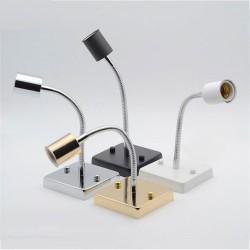 Universal 360 Degree E27 Lamp Holder ceramic screw socket Lamp Base aluminum hose goose neck square