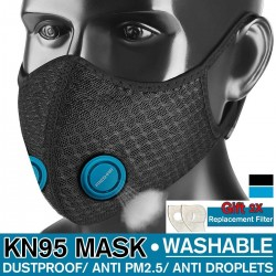 15Set KN-95 Anti PM25 Dust Mask Windproof Mask Double Blue Valve With 2X Filter Cycling Sport Bicy