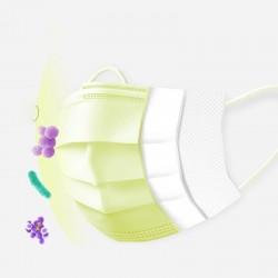 Masques jetables pour le visage et la bouche - 3 couches - anti-poussière - anti-bactérien - jaune premium