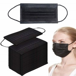 Disposable anti-bacterial medical face mask - mouth mask - 50 pieces black