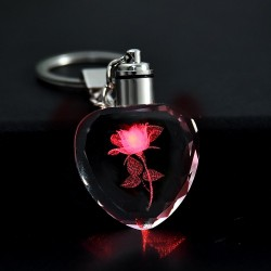 Rose flower in crystal heart - Led - keychain