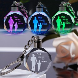 """""""Dad you are my hero"""" - crystal keychain - LED"""