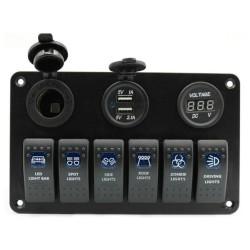 6 Gang 12V switch panel - 5V Dual USB - digital voltmeter
