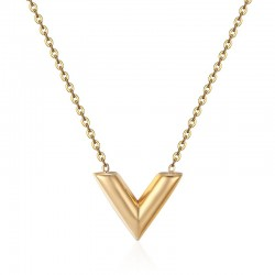 V Letter pendant with necklace - stainless steel