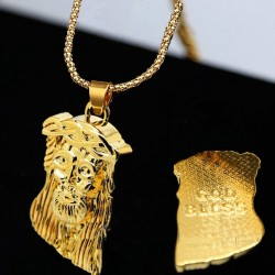 Face of Jesus Christ pendant - with gold necklace