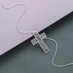 Hollow-out cross with necklace - stainless steel