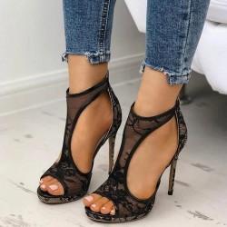 Lace High Heels Pumps - Black