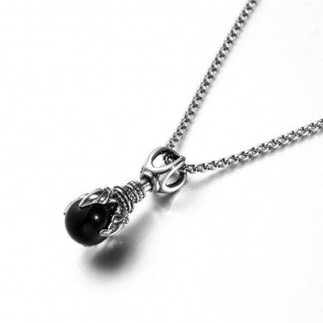 Dragon's paw with crystal - vintage stainless steel necklace
