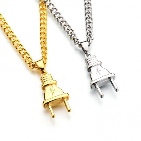Electrical plug shape pendant - gold & silver stainless steel necklace