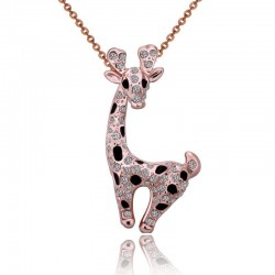 Stainless steel necklace with a crystal giraffe