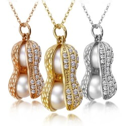 Crystal peanut with pearls - necklace