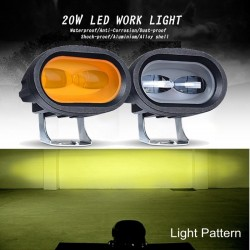 20W LED Work Light 6D 12V - Motorcycle - Yellow/White Lamp