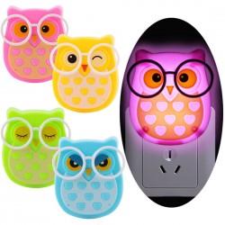 LED Eulenwand Nachtlicht - Lichtsteuersensor - EU-Stecker