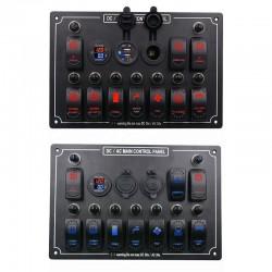 12V 10 Rocker Switch Panel - Waterproof - Car - Marine Boat