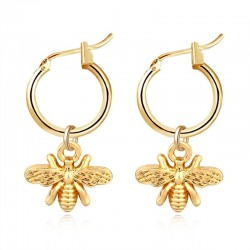 Small bee - gold earrings