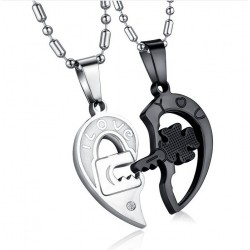 titanium steel rhinestone - four-leaf flower love heart pendant necklace